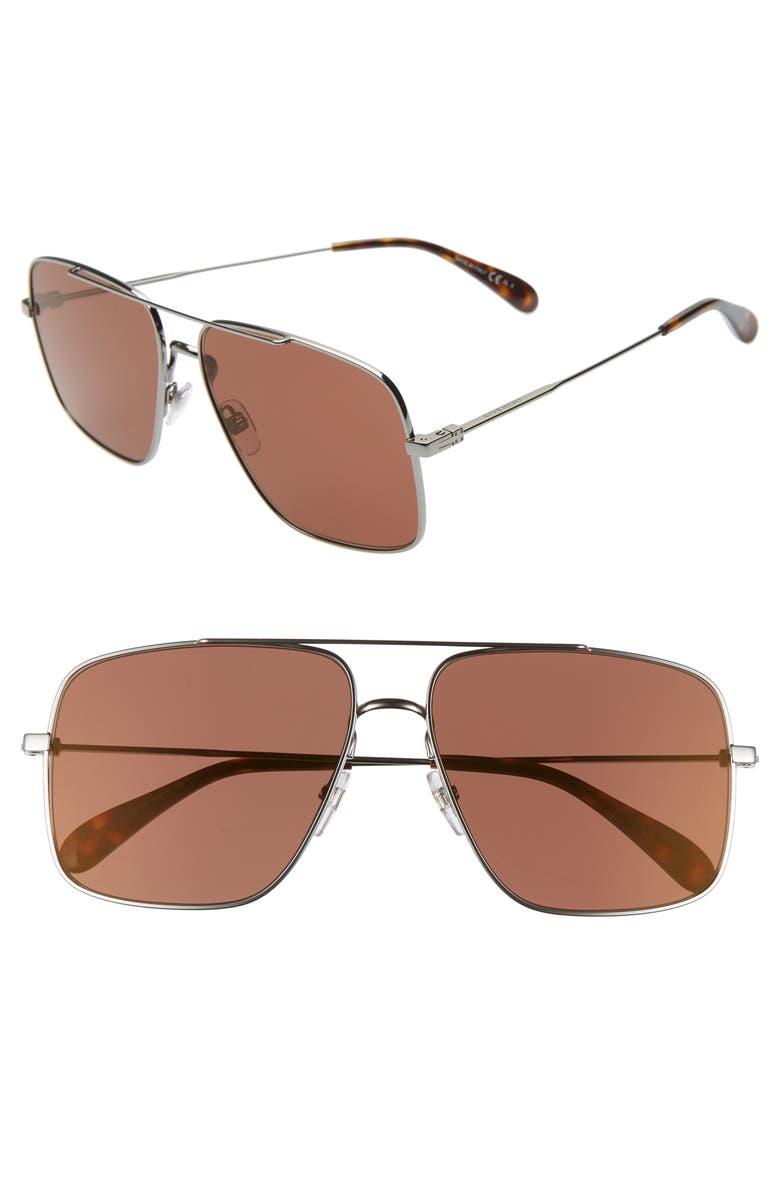 GIVENCHY 61mm Square Metal Sunglasses, Main, color, DARK RUTHENIUM