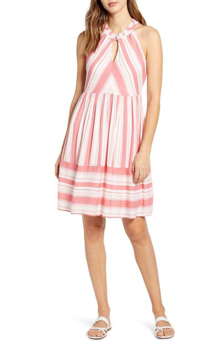 GIBSON x The Motherchic Newport Stripe Dress, Main, color, SUNKISSED OCEANPORT STRIPE