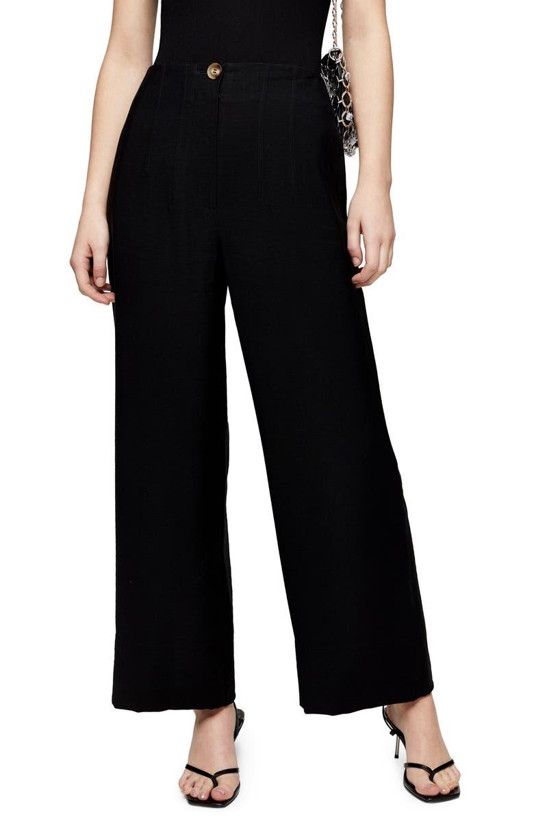 TOPSHOP Aida Stitch Detail Wide Leg Trousers, Main, color, BLACK