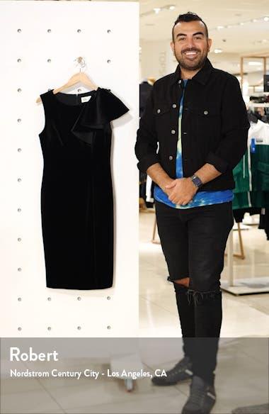 Ruffle Shoulder Velvet Sheath Dress, sales video thumbnail