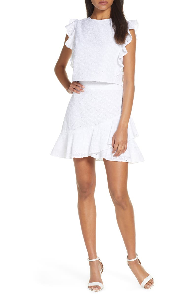 LILLY PULITZER<SUP>®</SUP> Alpinia Eyelet Two-Piece Dress, Main, color, RESORT WHITE FISHY EYELET
