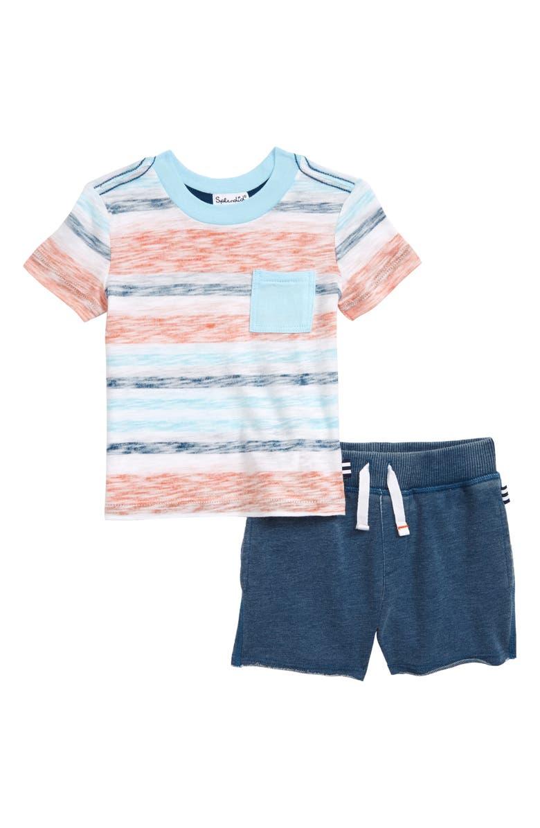 SPLENDID Stripe T-Shirt & Knit Shorts Set, Main, color, 300