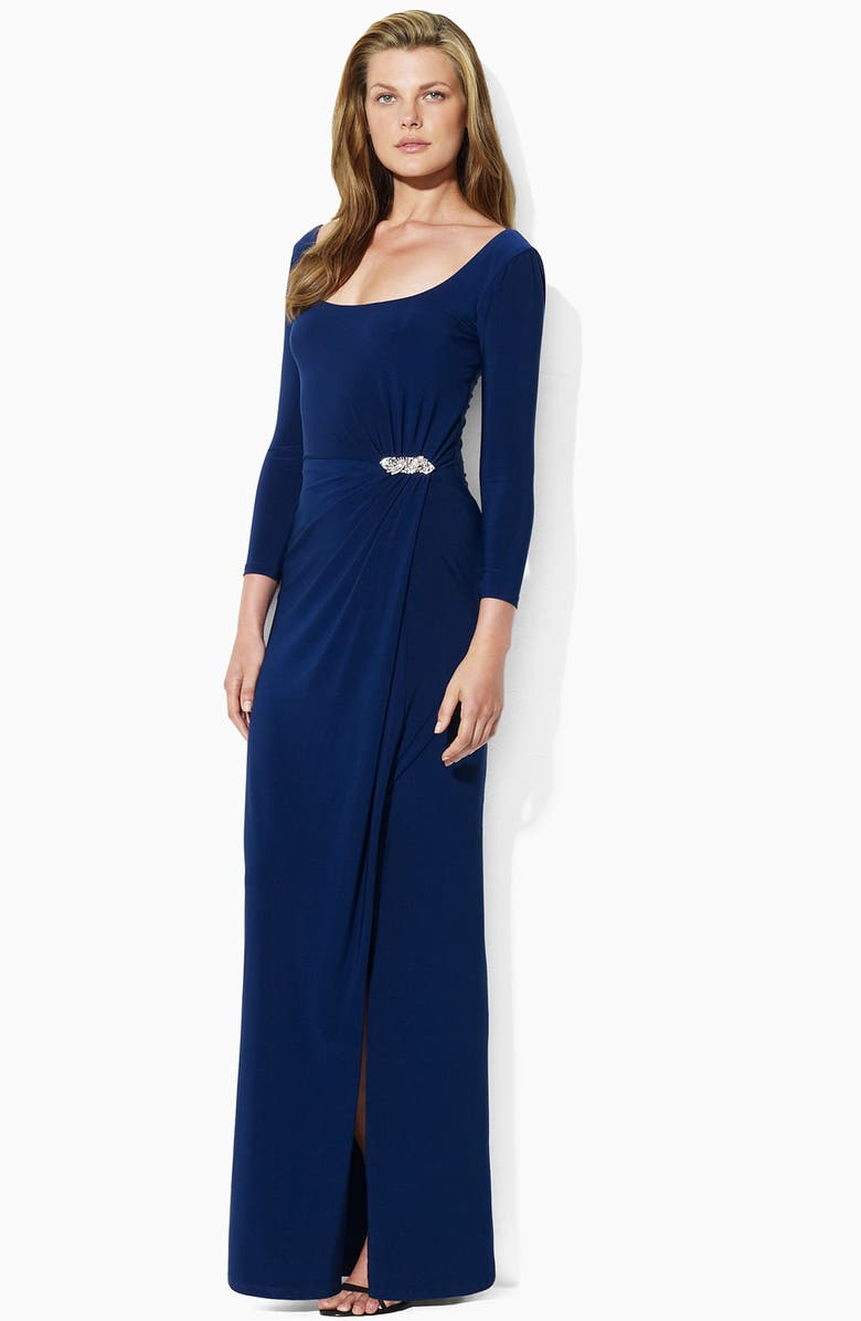 LAUREN RALPH LAUREN Lauren by Ralph Lauren Jeweled Scoop Neck Jersey Gown, Main, color, 410