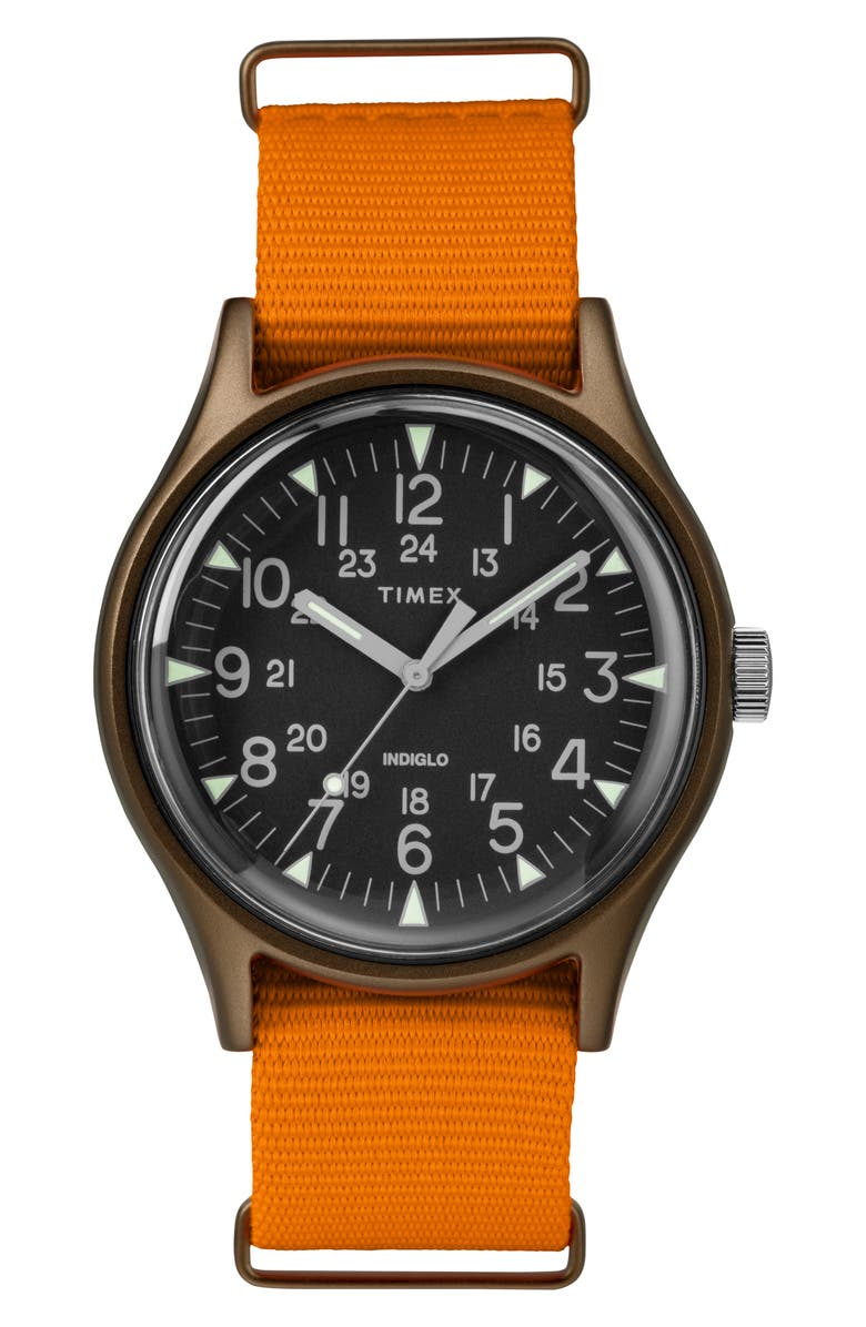 TIMEX<SUP>®</SUP> MK1 Nylon Strap Watch, 40mm, Main, color, ORANGE/ BLACK/ OLIVE