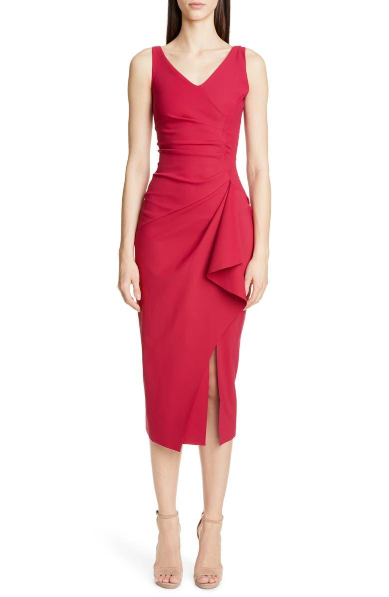 CHIARA BONI LA PETITE ROBE Kloty Ruched Midi Dress, Main, color, AMARENA