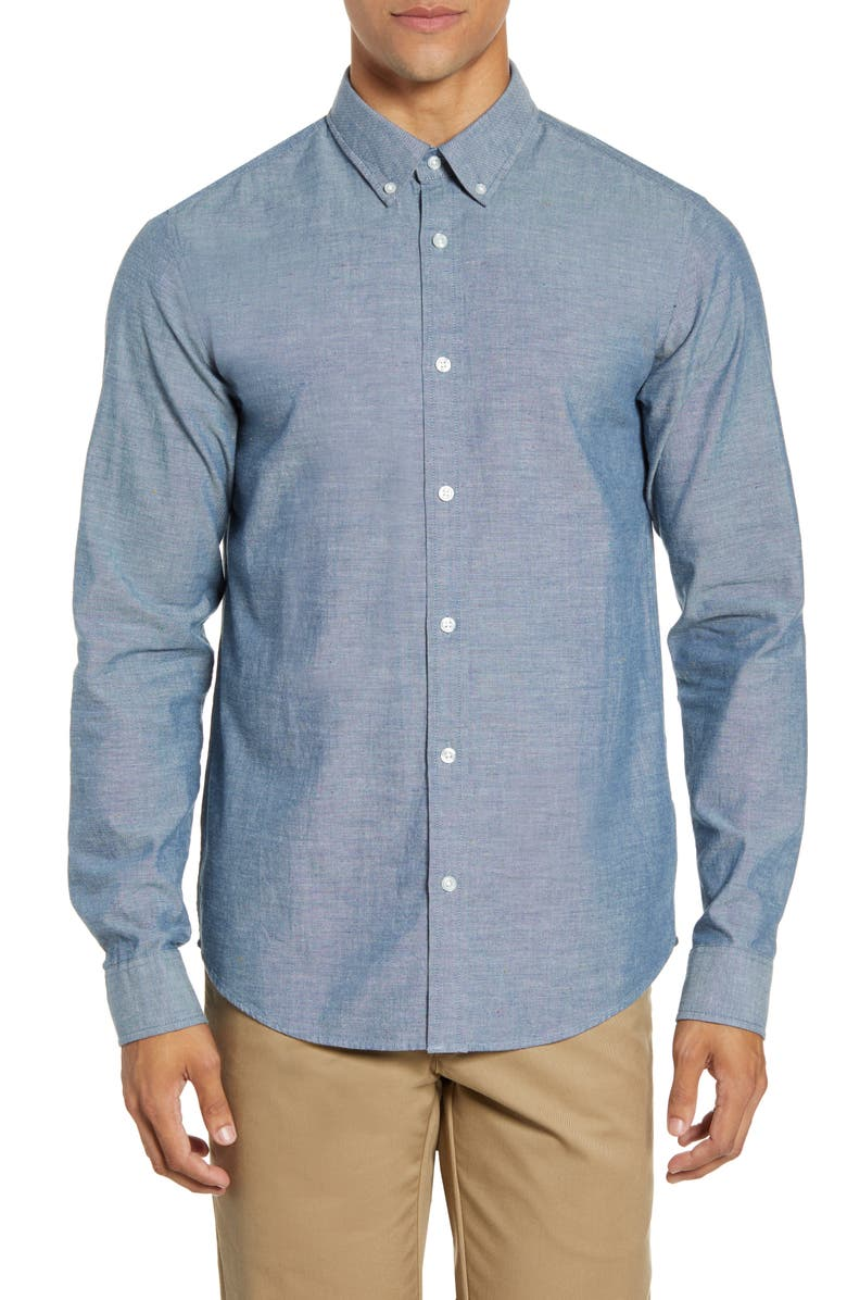CARHARTT WORK IN PROGRESS Kyoto Neppy Button-Down Chambray Shirt, Main, color, 400