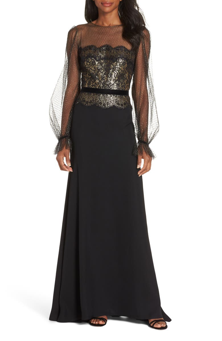 TADASHI SHOJI Crepe & Sequin Gown, Main, color, BLACK/ GOLD