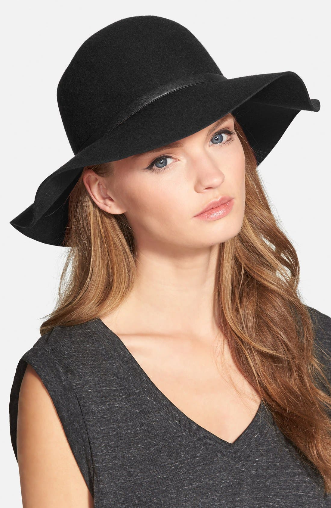 ,                             Floppy Wool Hat,                             Main thumbnail 1, color,                             001