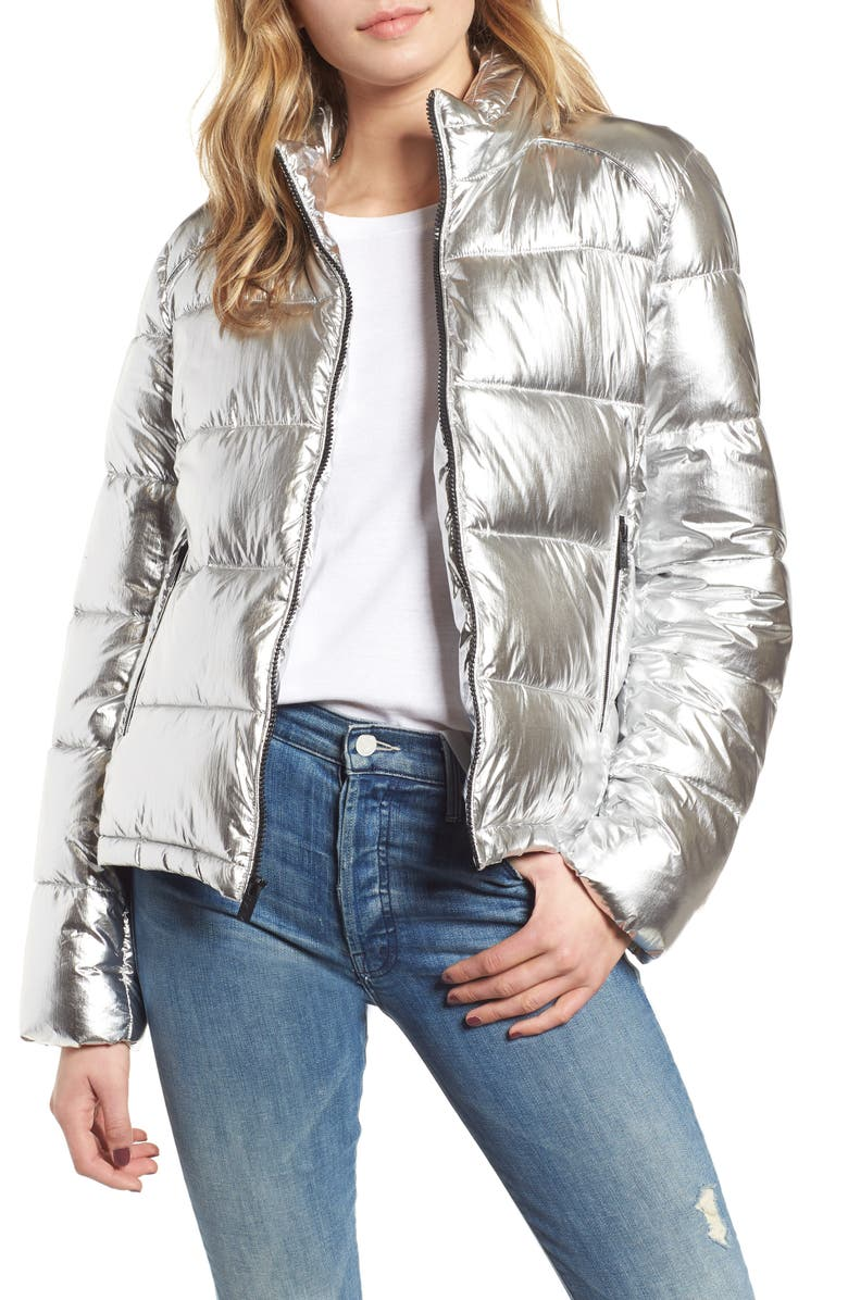 MARC NEW YORK Metallic Puffer Jacket, Main, color, SILVER