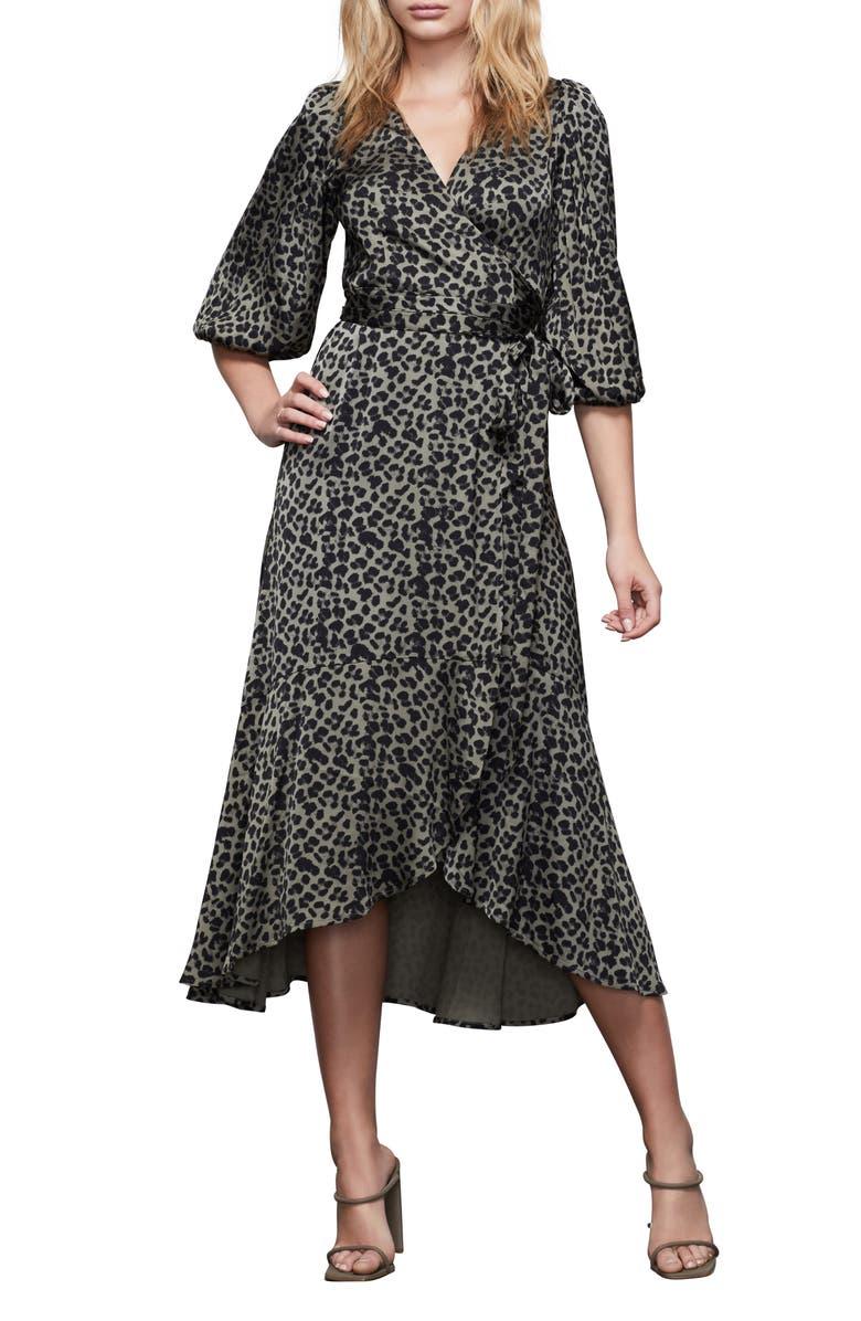 GOOD AMERICAN The Wrap Body Leopard Print Midi Dress, Main, color, SAGE LEOPARD001