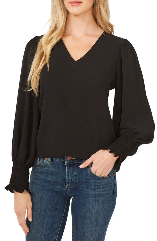 Cece V-neck Long Sleeve Blouse In Rich Black