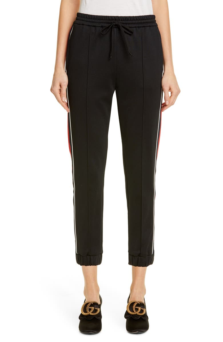 GUCCI Web Stripe Technical Jersey Jogger Pants, Main, color, BLACK/ BLUE/ RED