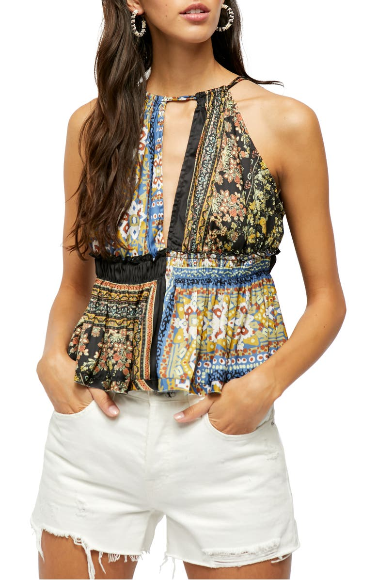 FREE PEOPLE Bellini Mix Print Tank, Main, color, BLACK COMBO