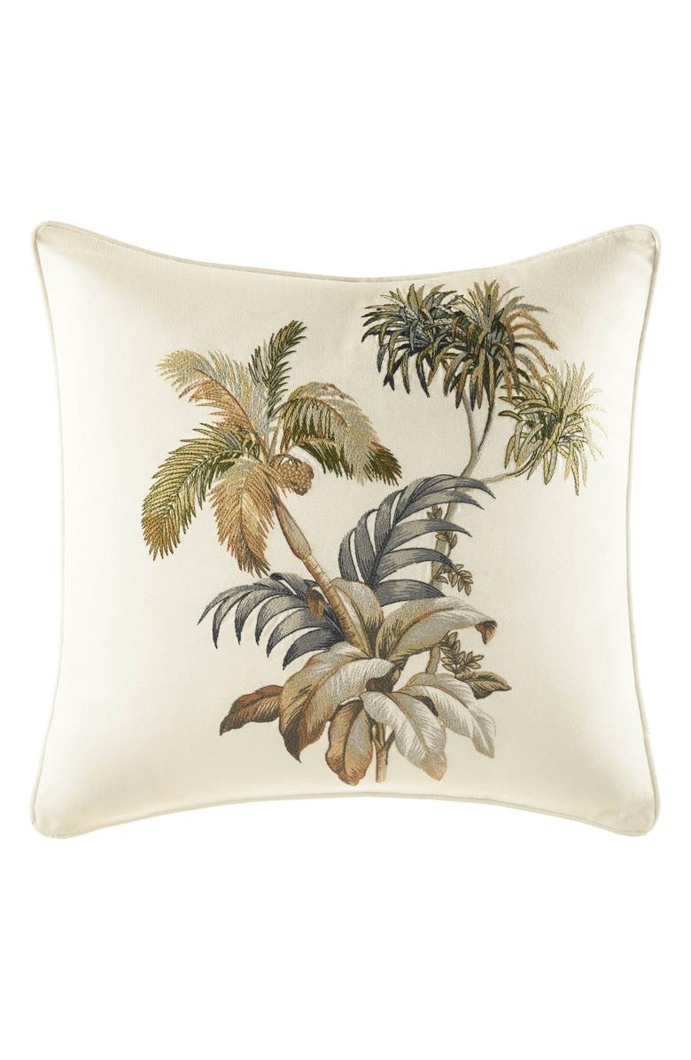TOMMY BAHAMA Nador Palm Embroidered Accent Pillow, Main, color, NEUTRAL
