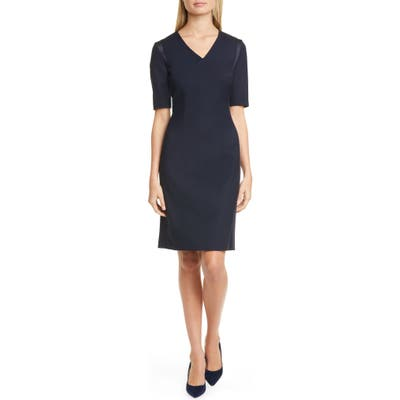 Boss Datiso Stretch Wool Sheath Dress, Blue
