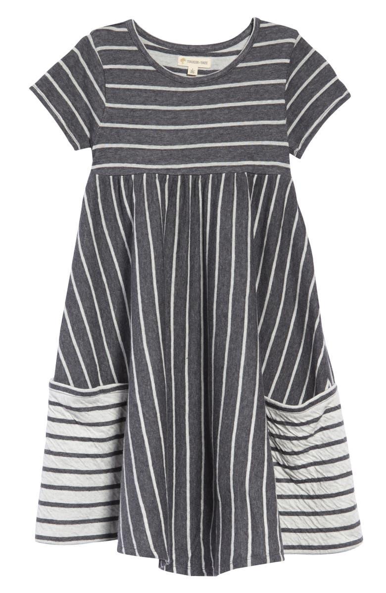 TUCKER + TATE Stripe Pocket Dress, Main, color, GREY CHAROAL HTR- IVORY STRIPE