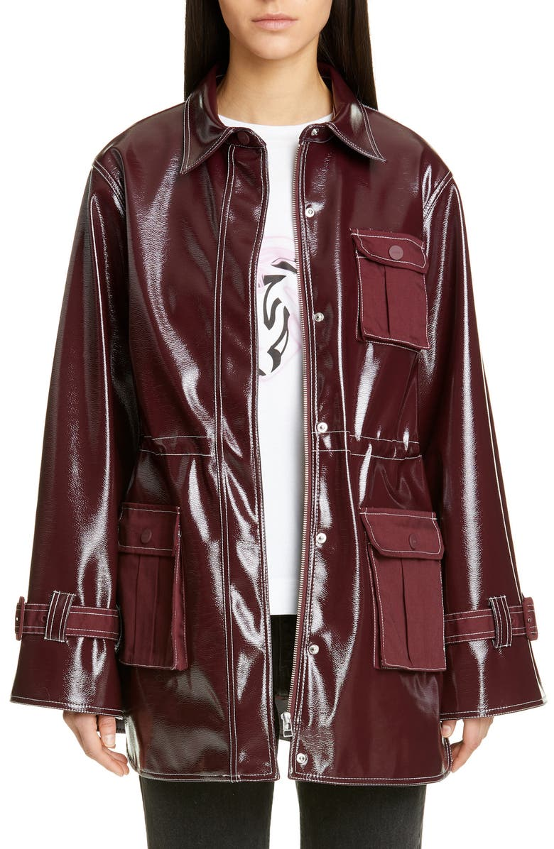 GANNI Faux Patent Jacket, Main, color, PORT ROYALE