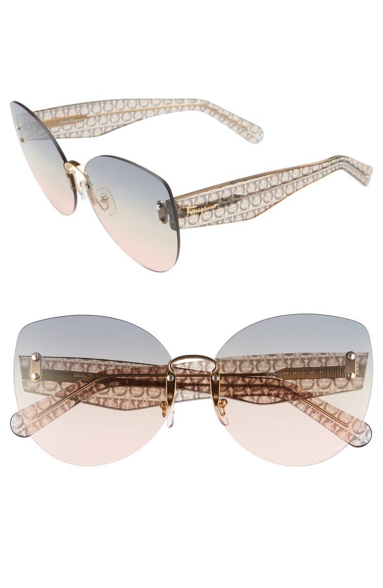 SALVATORE FERRAGAMO 65mm Oversize Rimless Butterfly Sunglasses, Main, color, GOLD/ BLUE GREEN SALMON