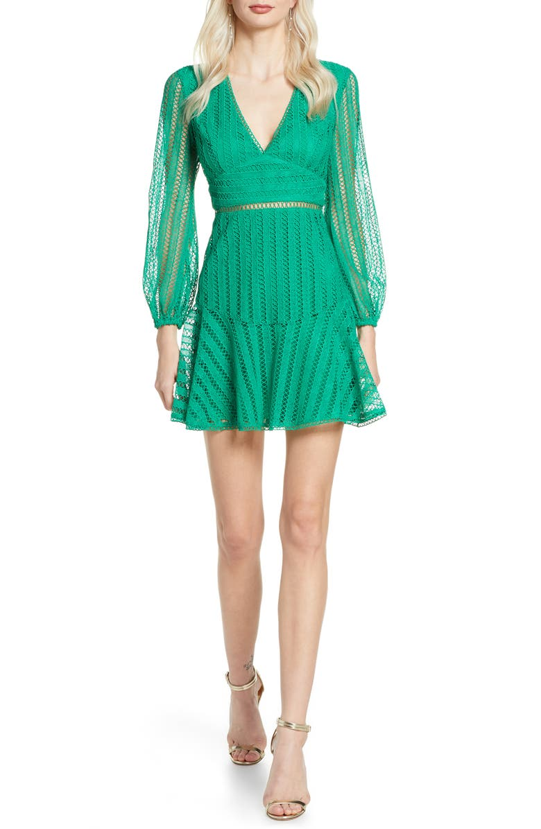 BARDOT Ruth Long Sleeve Minidress, Main, color, BRIT GREEN