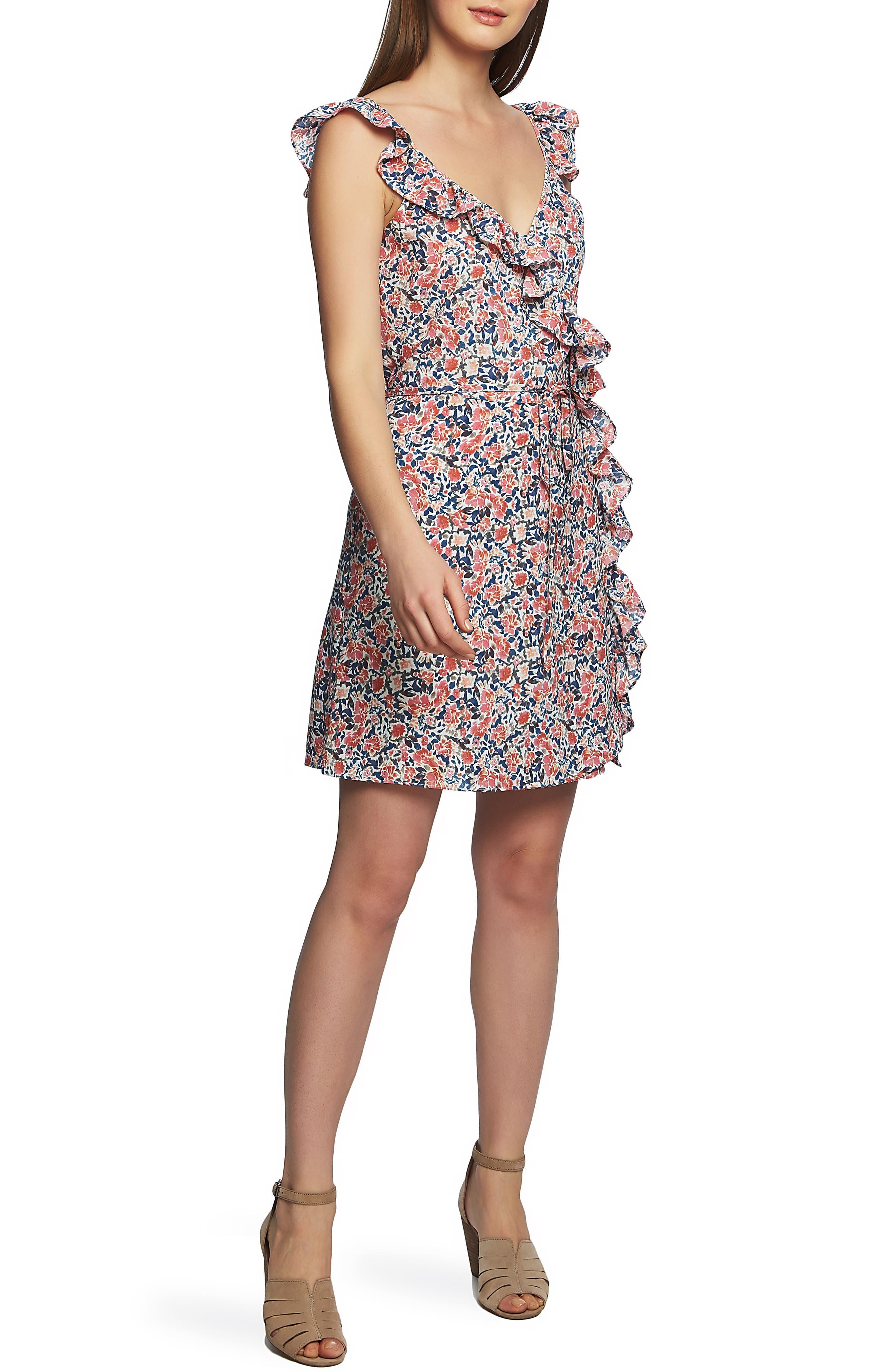 1.state Sunwashed Ruffle Edge Sleeveless Dress, Coral