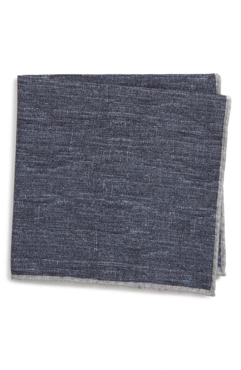 ELEVENTY Solid Wool & Cotton Pocket Square, Main, color, 400