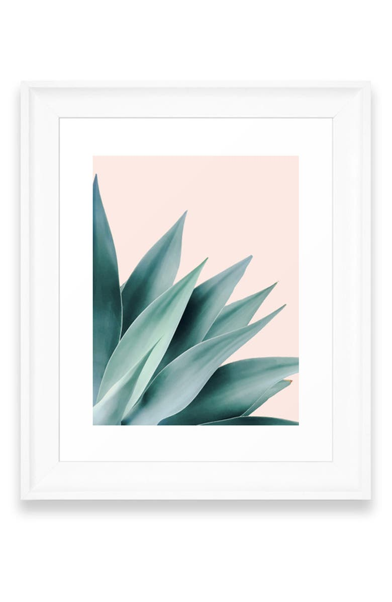 DENY DESIGNS Agave Flare II Art Print, Main, color, WHITE FRAME