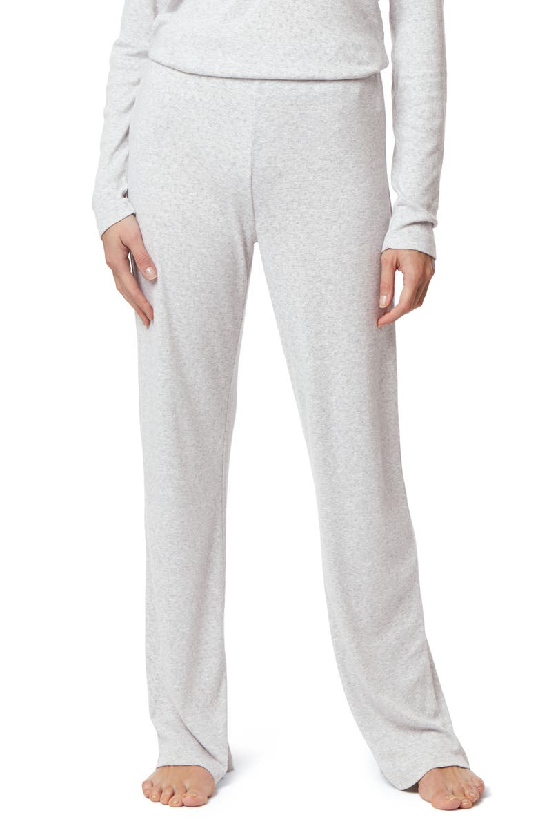 THE WHITE COMPANY Pointelle Wide Leg Pajama Pants, Main, color, CLOUD MARL