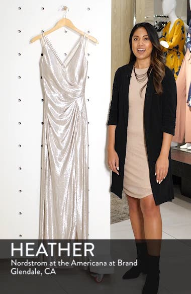 Side Pleated Metallic Column Gown, sales video thumbnail