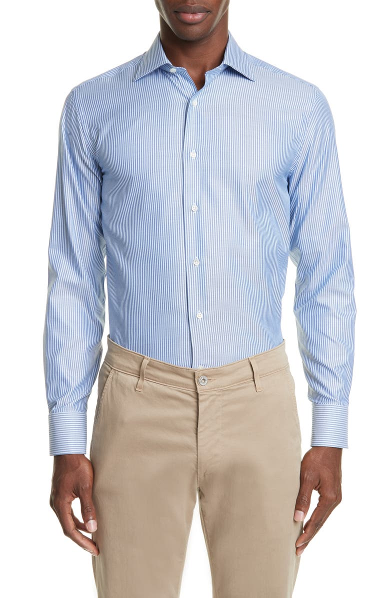 CANALI Trim Fit Stripe Dress Shirt, Main, color, BLUE