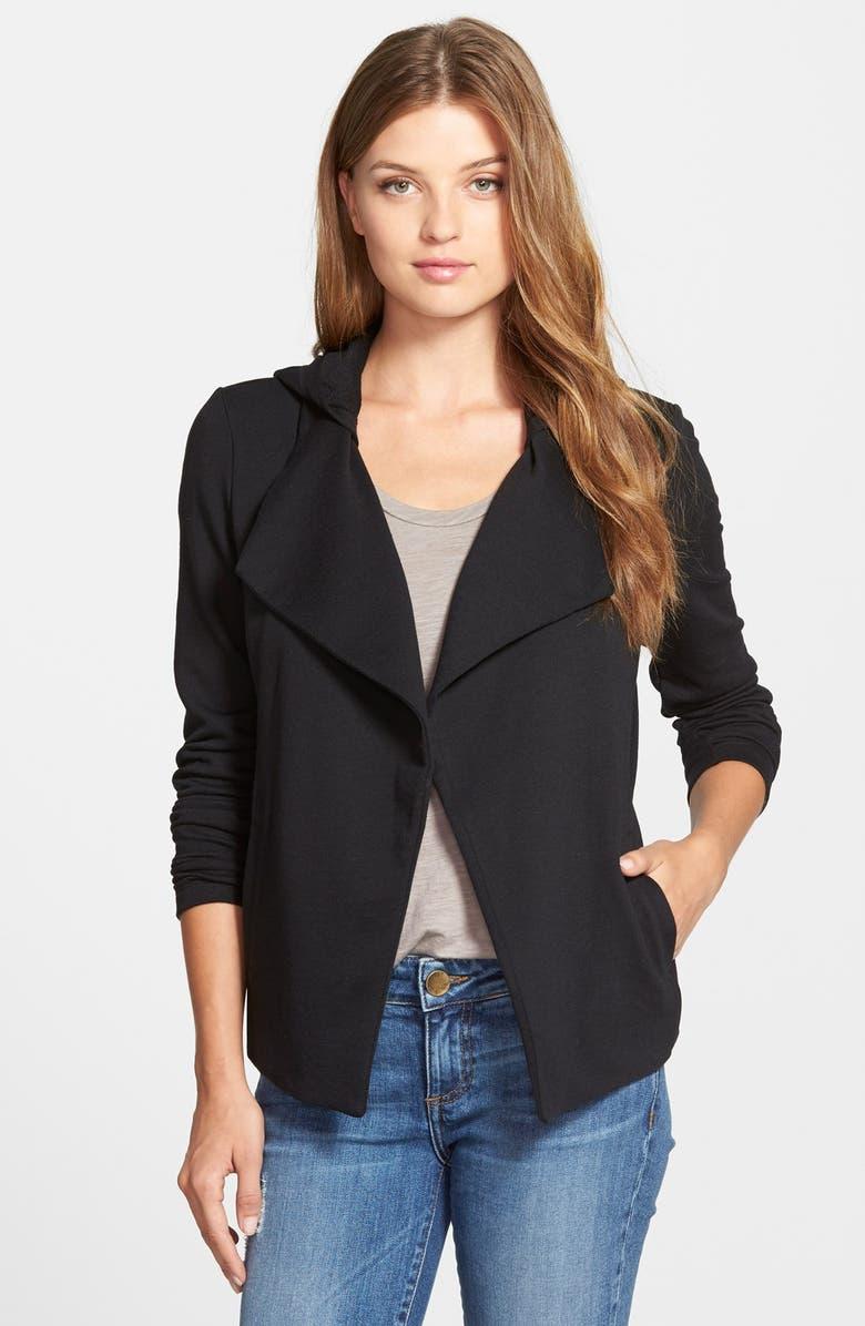 CASLON<SUP>®</SUP> Hooded Drape Front Knit Jacket, Main, color, 001