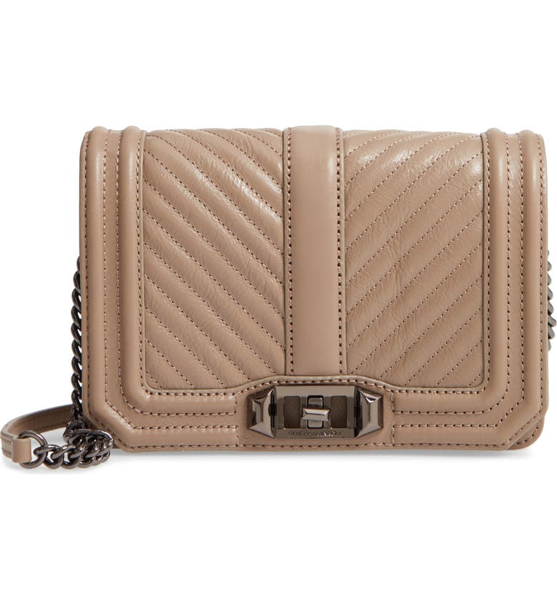 REBECCA MINKOFF Small Love Quilted Leather Crossbody Bag, Main, color, SANDRIFT