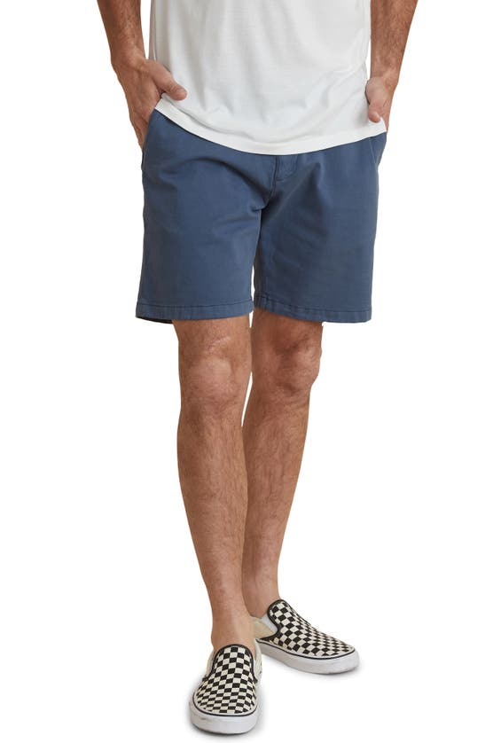 Marine Layer Cotton Stretch Garment-dyed Slim Fit Shorts In Faded Blue