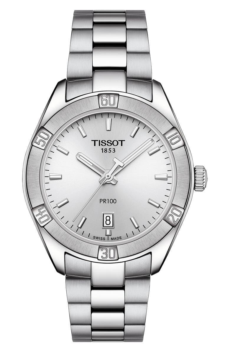 TISSOT PR 100 Sport Chic Bracelet Watch, 36mm, Main, color, SILVER