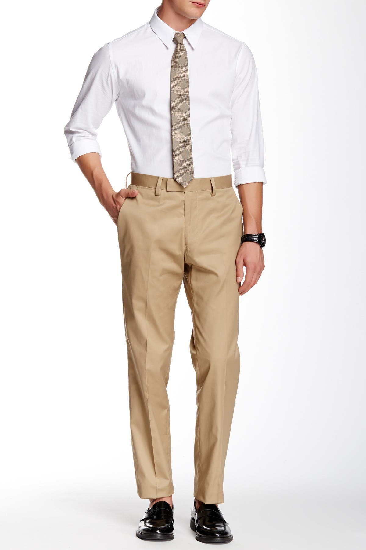 """Image of Louis Raphael Slim Fit Flat Front Landon Pants - 30-34"""" Inseam"""