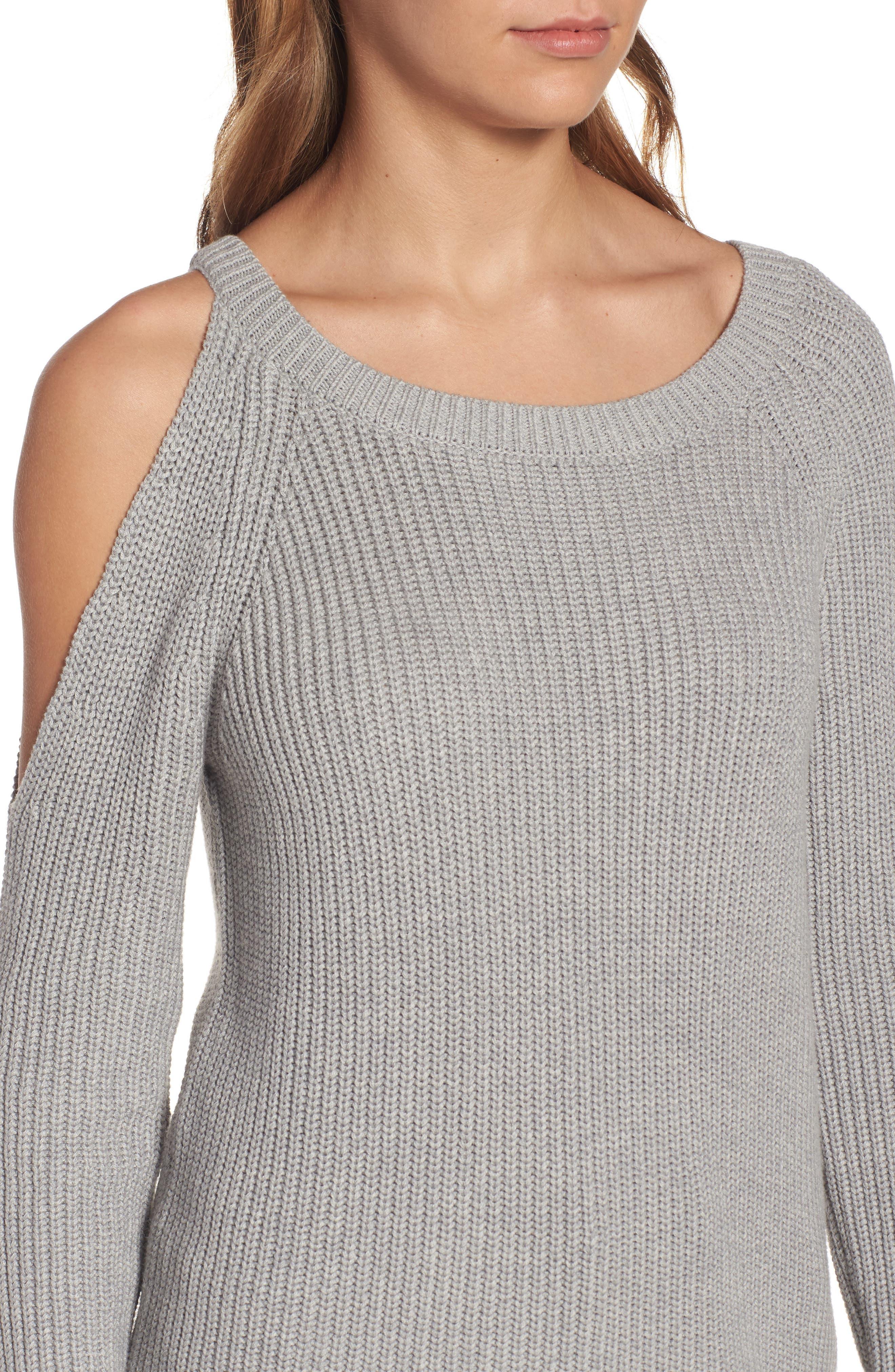 ,                             Asymmetrical Cold Shoulder Sweater,                             Alternate thumbnail 4, color,                             020