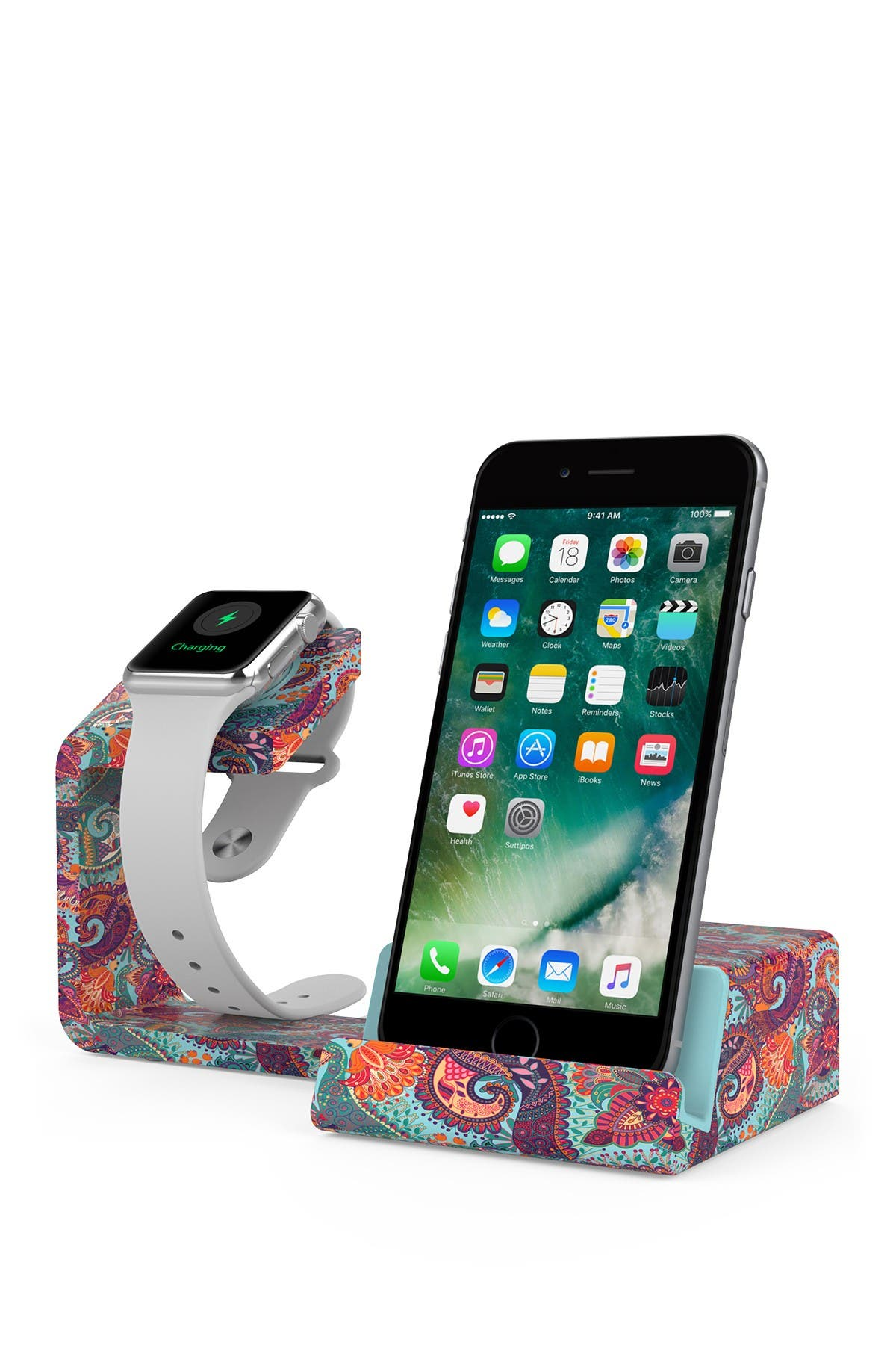 Image of POSH TECH Dual 2-in-1 Charging Stand for Apple Watch and Smartphones - Paisley