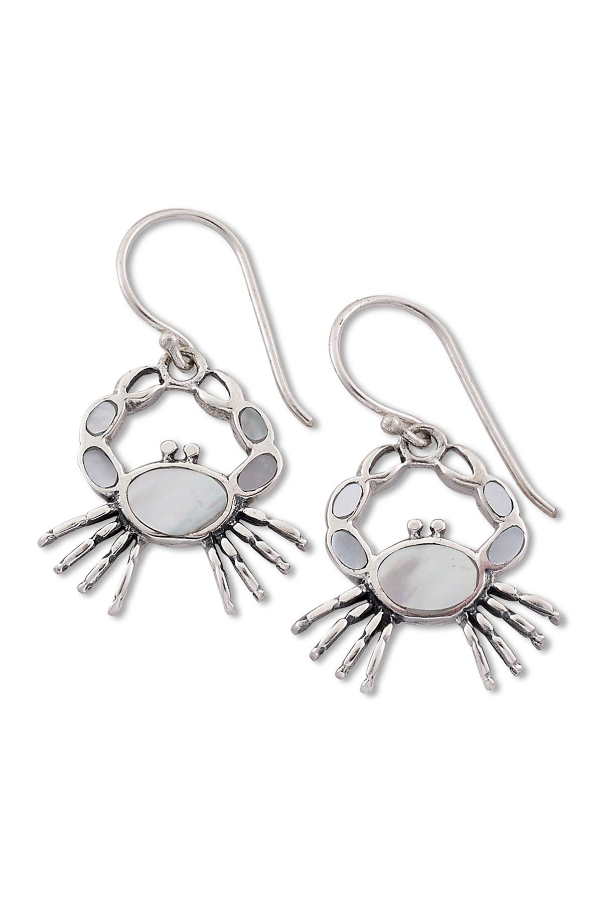 Image of Samuel B Jewelry Sterling Silver Mother of Pearl Crab Earrings