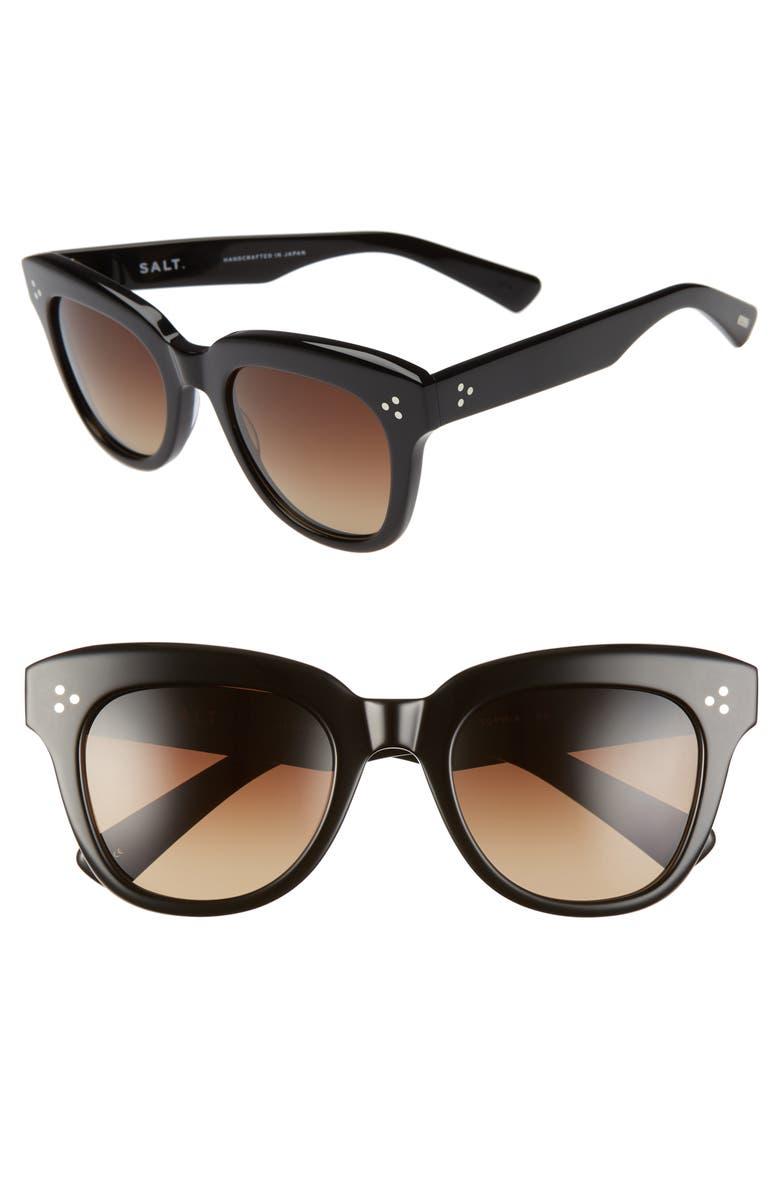 SALT. Sophia 52mm Polarized Square Sunglasses, Main, color, BLACK/ BROWN