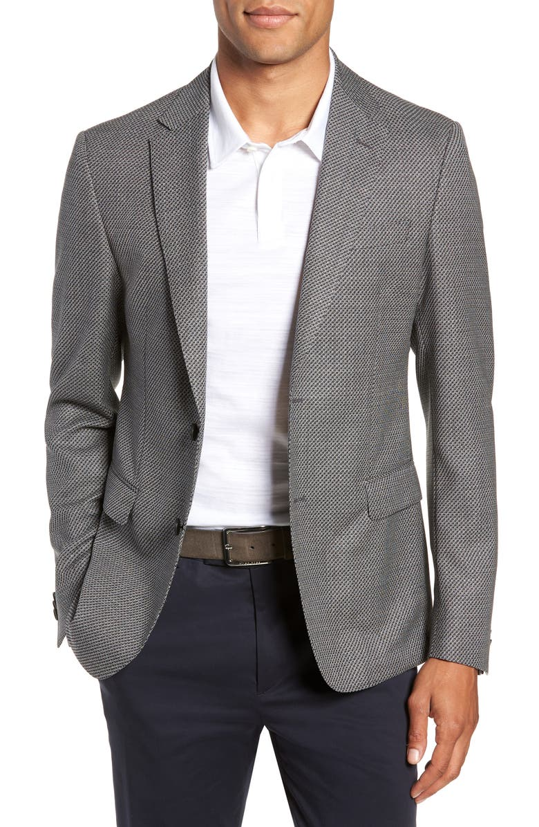 BOSS Nobis Trim Fit Houndstooth Wool Sport Coat, Main, color, 021