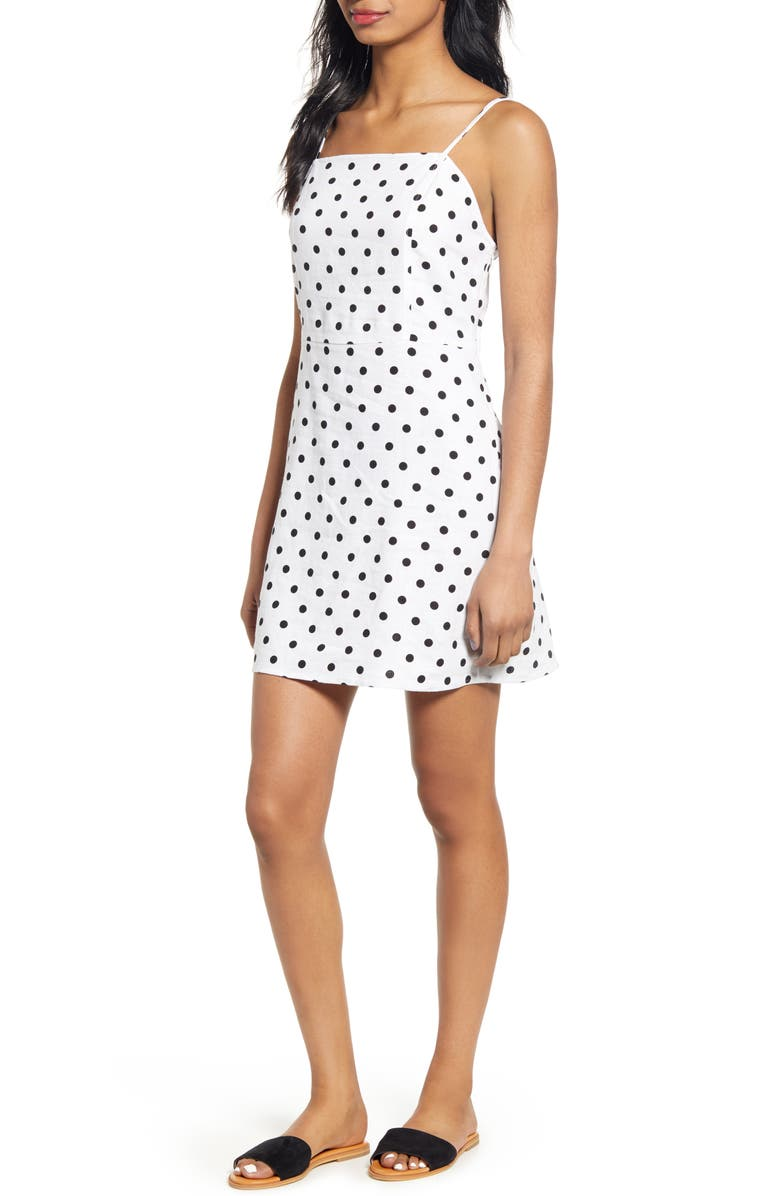 BP. Floral Print Linen Blend Minidress, Main, color, WHITE BLACK POLKA DOT