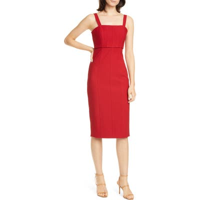 Cinq A Sept Dakota Back Cutout Body-Con Midi Dress, Red