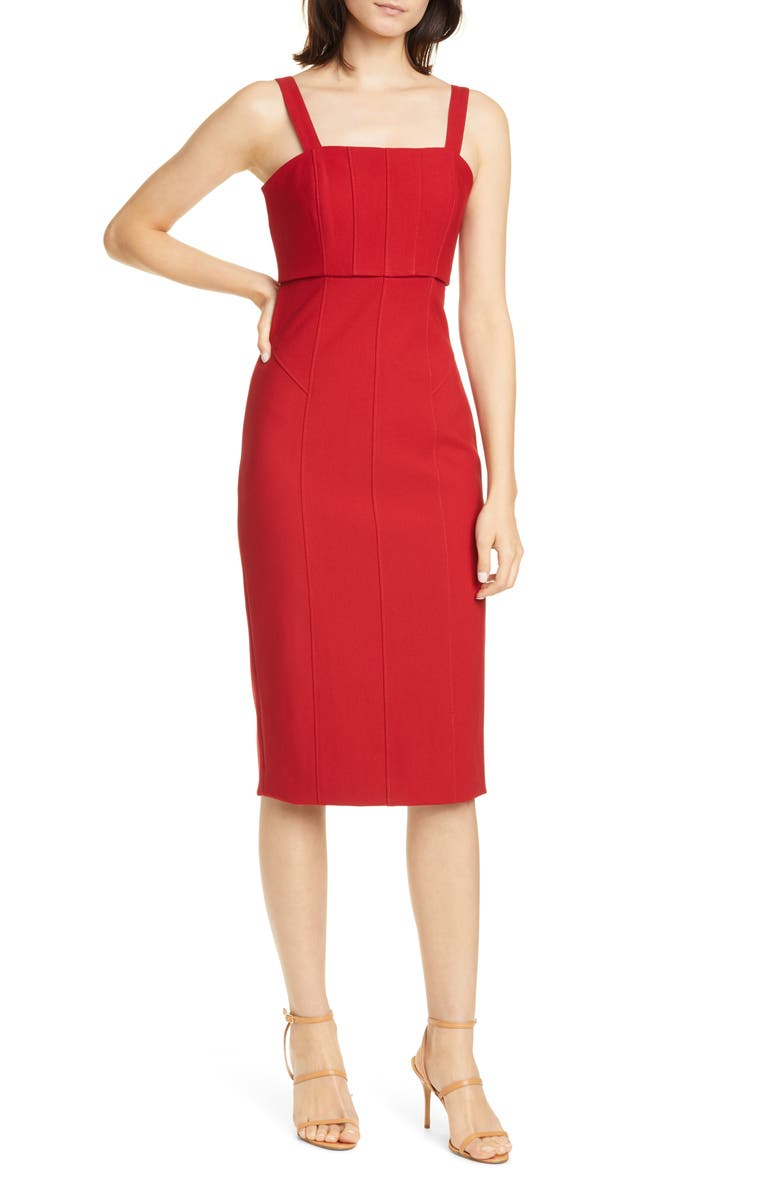 CINQ À SEPT Dakota Back Cutout Body-Con Midi Dress, Main, color, SCARLET