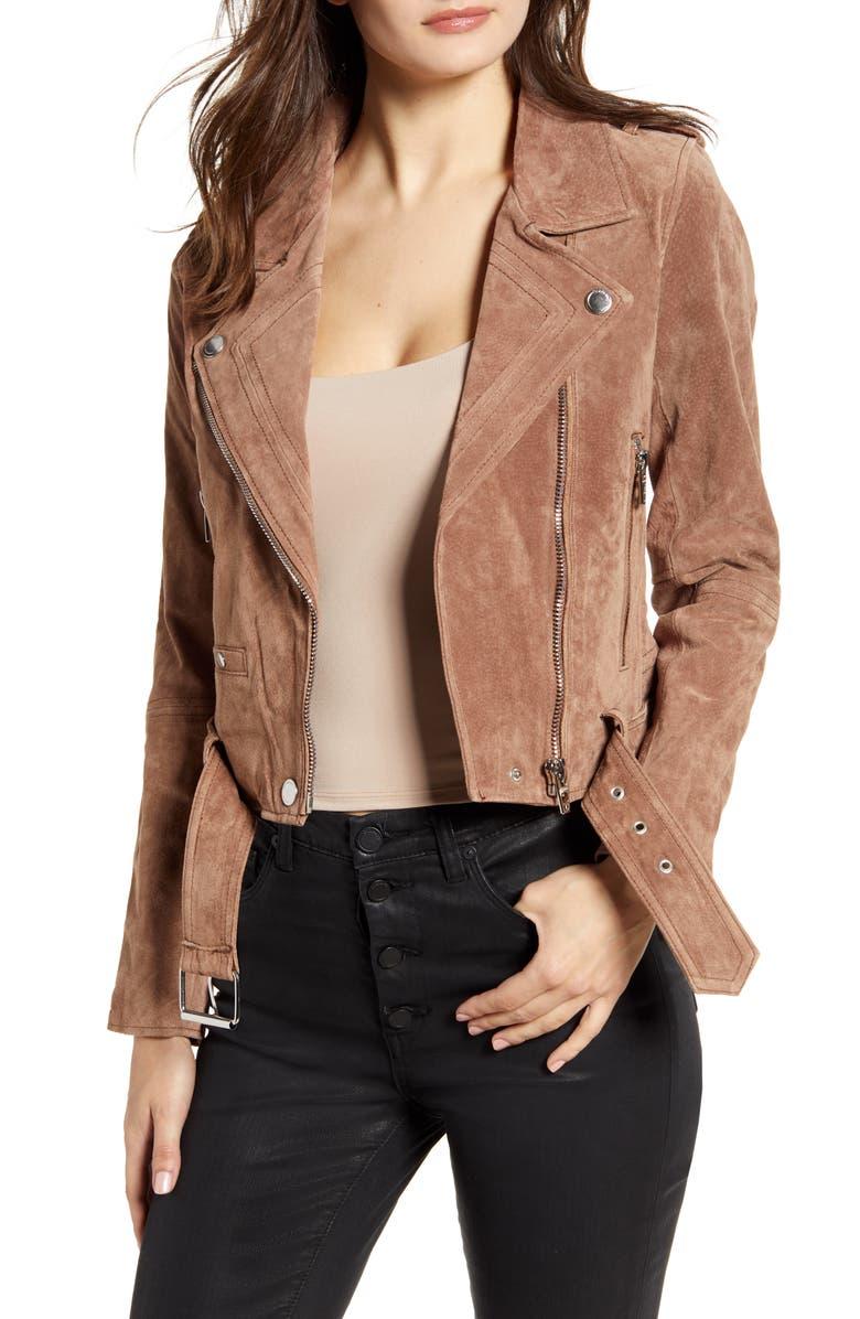 BLANKNYC Suede Moto Jacket, Main, color, COFFEE BEAN