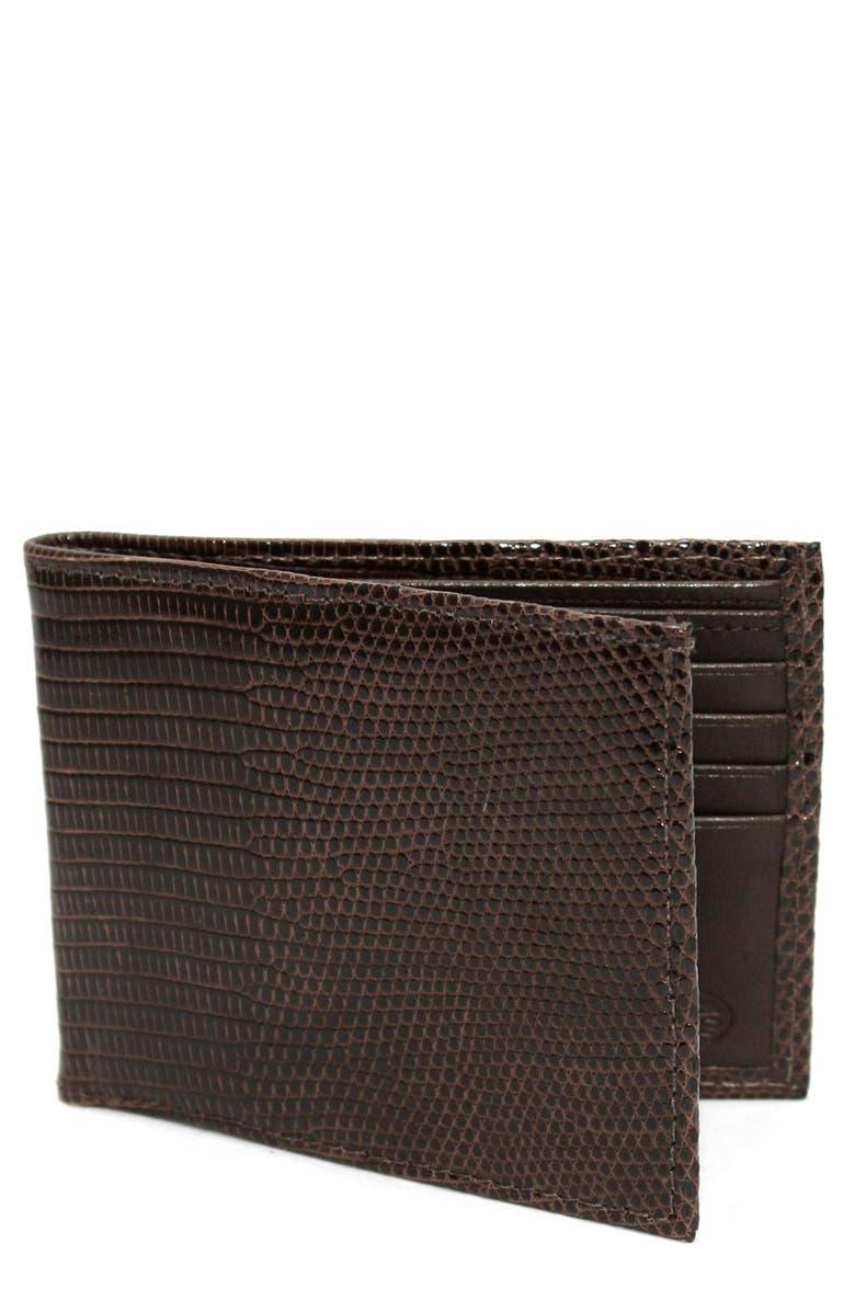 TORINO Genuine Lizard Wallet, Main, color, COGNAC BROWN