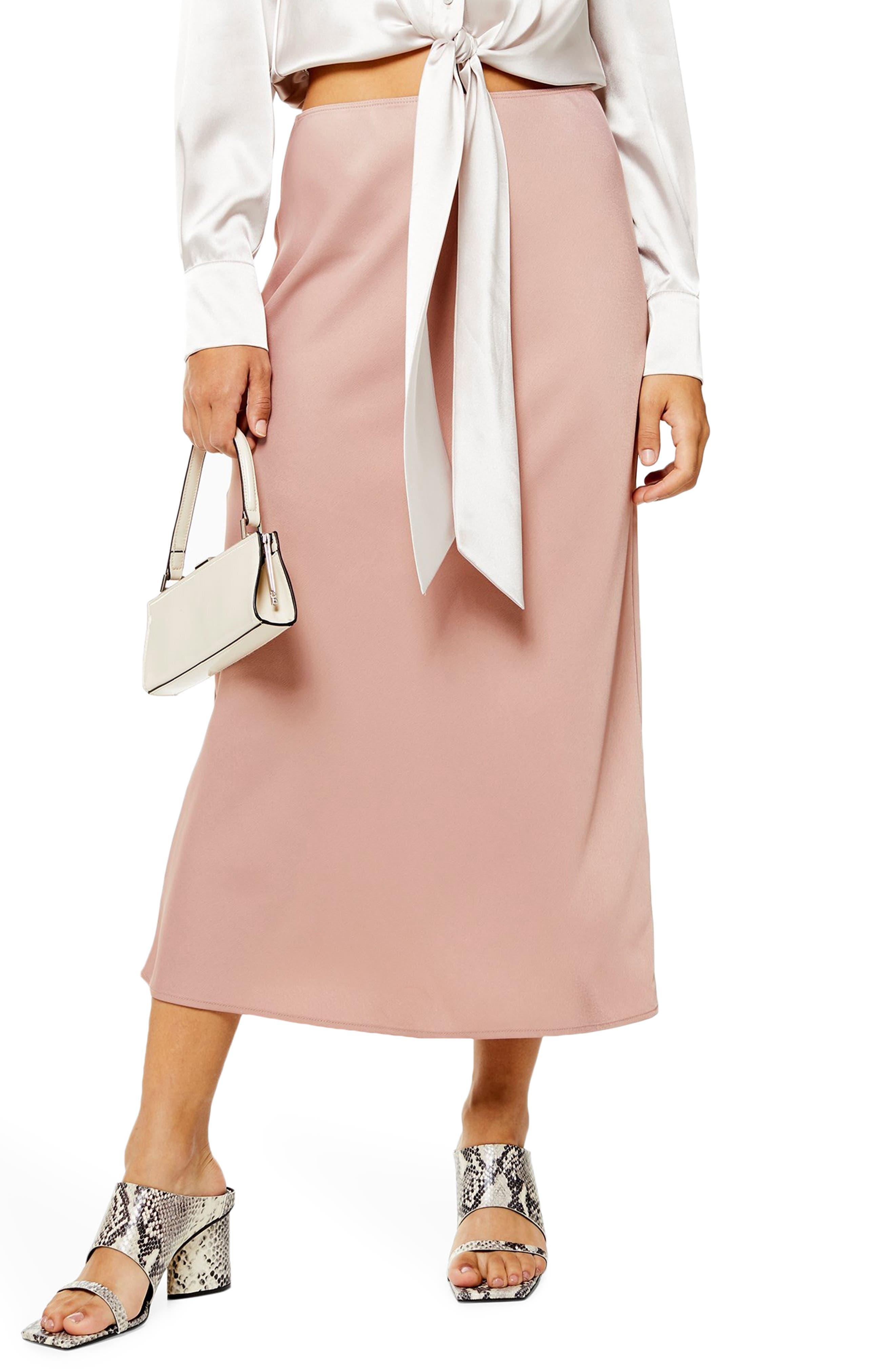 Topshop Matte Satin Bias Cut Skirt, US (fits like 0) - Pink