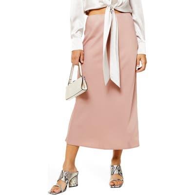 Topshop Matte Satin Bias Cut Skirt, US (fits like 6-8) - Pink