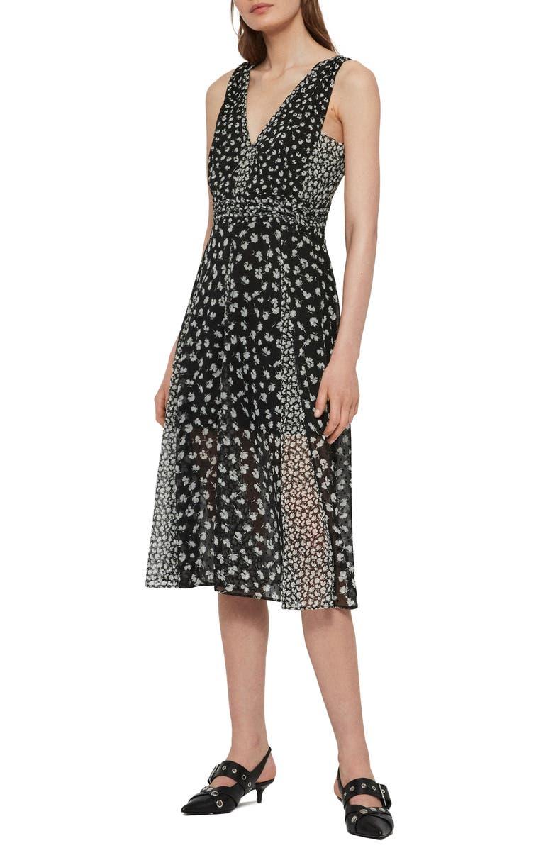 ALLSAINTS Macella Scatter A-Line Dress, Main, color, BLACK