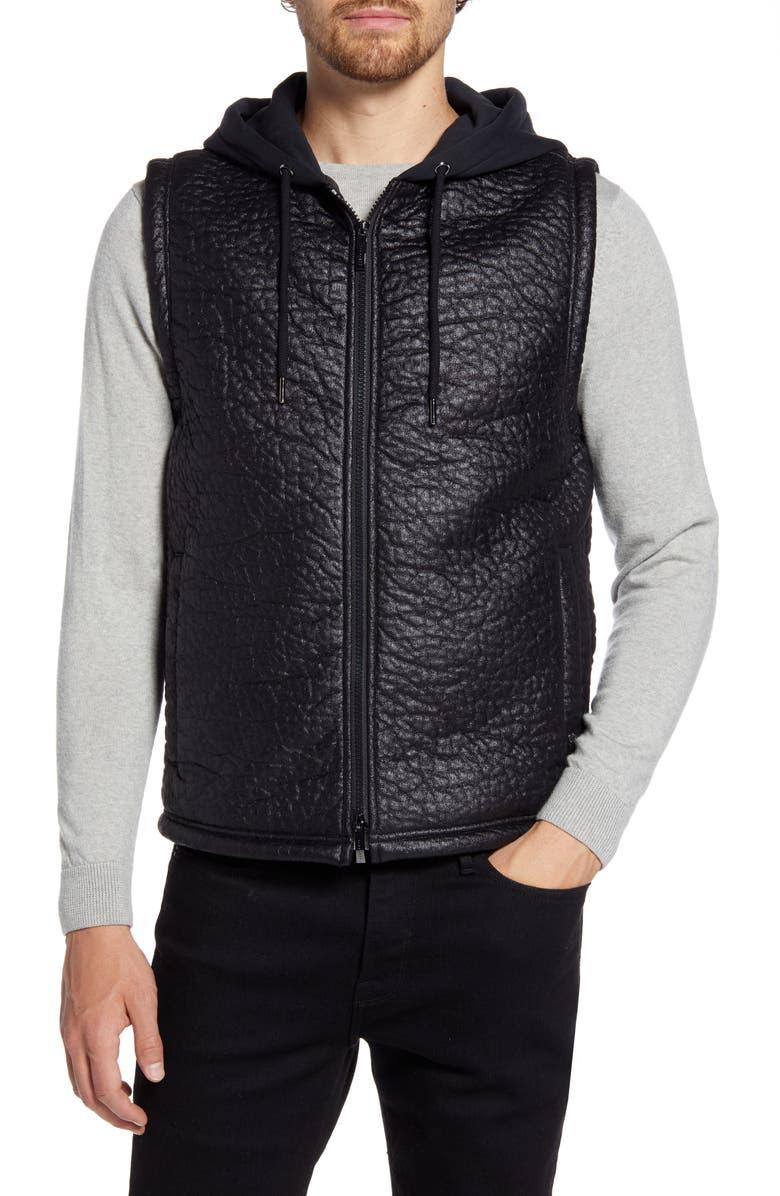 ROBERT BARAKETT Timbercreek Hooded Faux Leather Zip-Up Vest, Main, color, BLACK