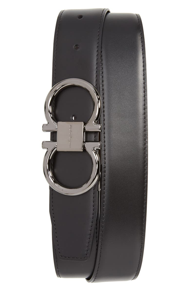 SALVATORE FERRAGAMO Gancio Reversible Calfskin Leather Belt, Main, color, BLACK/ HICKORY