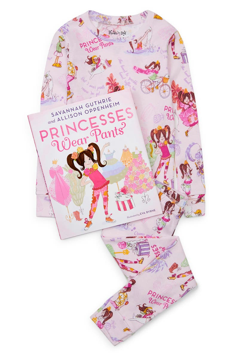 BOOKS TO BED Princesses Wear Pants Fitted Two-Piece Pajamas & Book Set, Main, color, PINK
